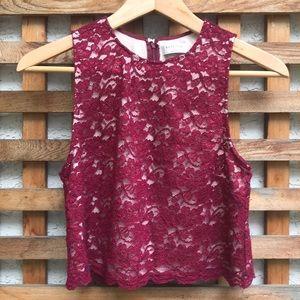 Babaton Sleeveless Lace Crop Top